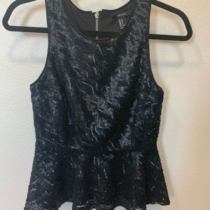 Matte black sequin peplum top